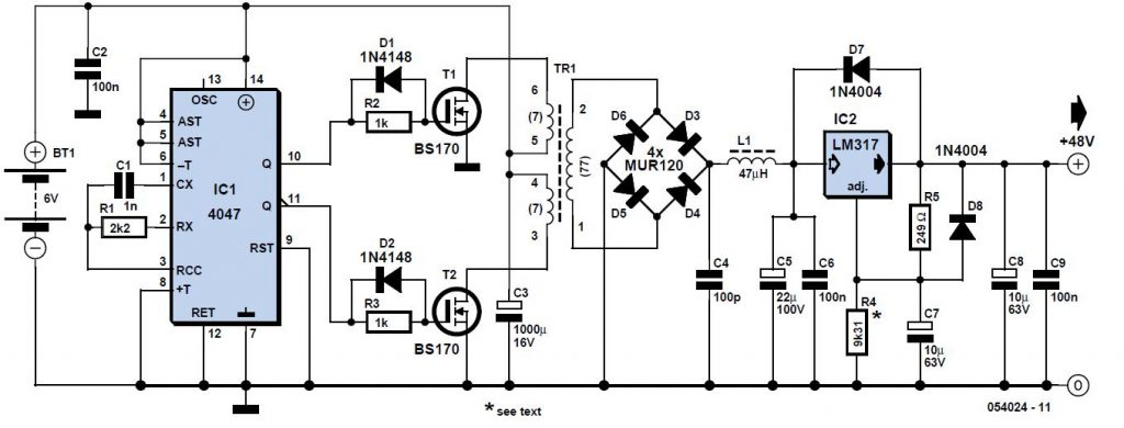 Phantom Supply from Batteries Schematic Circuit Diagram