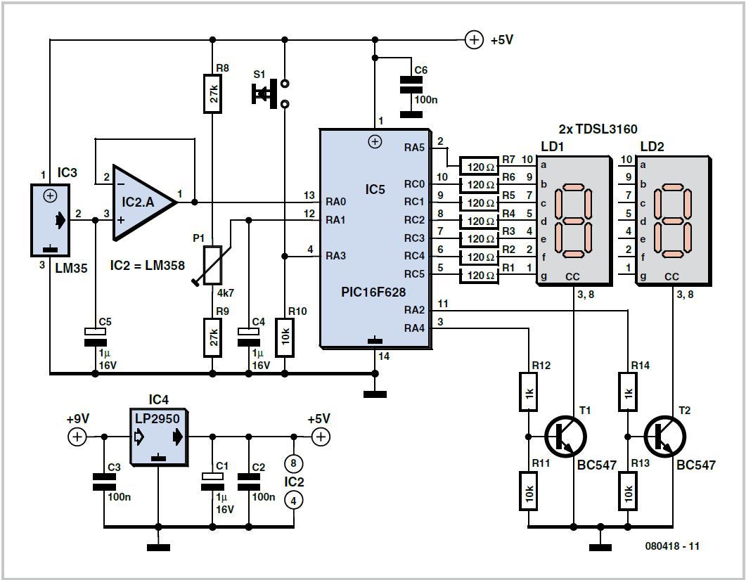 Portable Thermometer Schematic Circuit Diagram Seven Segment Multiplexing