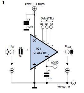 Programmable- Gain Amplifier Schematic Circuit Diagram 1