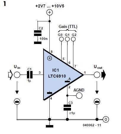 Programmable- Gain Amplifier Schematic Circuit Diagram