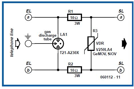 Protection for Telephone Line Schematic Circuit Diagram