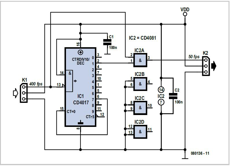 Radio Control Signal Frame-rate Divider Schematic Circuit Diagram 1