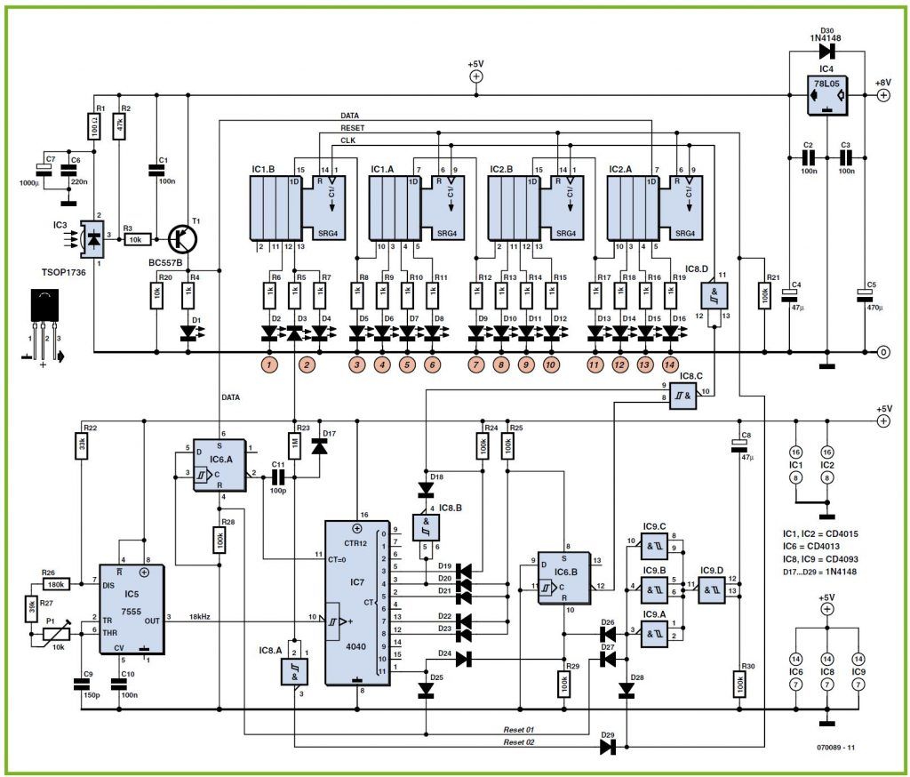 Receiver for RC5 Remote Controls Schematic Circuit Diagram