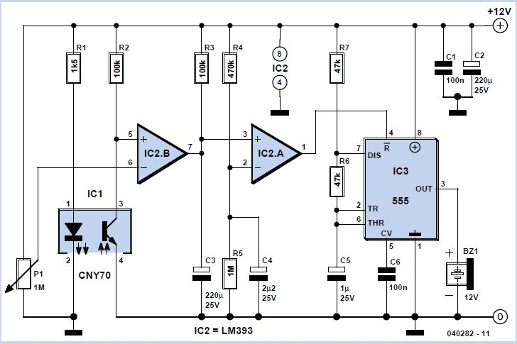 Reflection Light Barrier with Delay Schematic Circuit Diagram