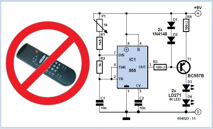 Remote Control Blocker Schematic Circuit Diagram