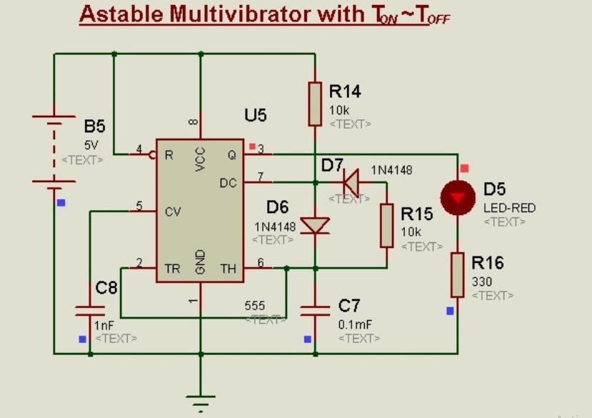Schematic Circuit Diagram Astable Multivibrator using 555-Timer proteus simulation 2