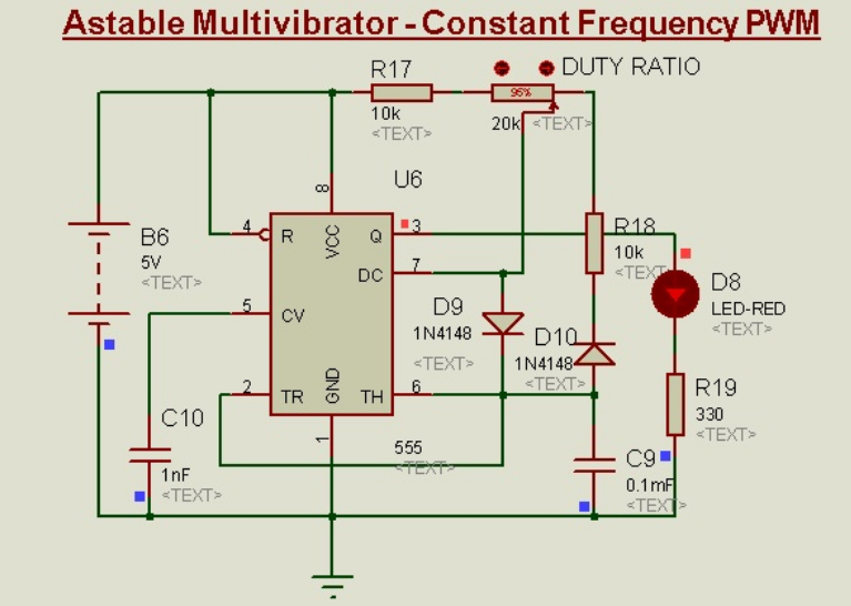 Schematic Circuit Diagram Constant frequency PWM Using 555-Timer proteus simulation