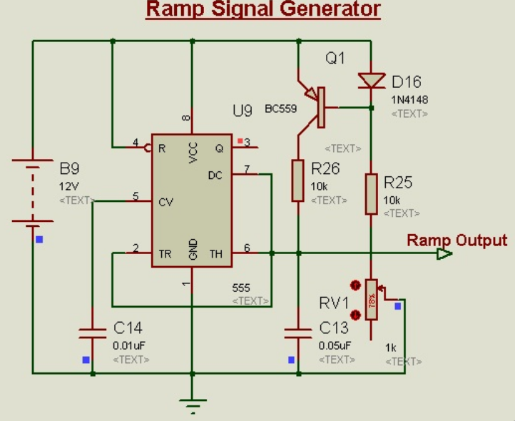 Schematic Circuit Diagram Linear Ramp Signal Generator Using 555-Timer proteus simulation