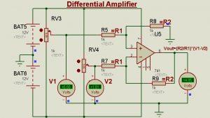 Schematic Circuit Diagram Op-Amp as Differential Amplifier/Subtractor proteus simulation