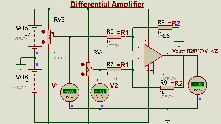 Schematic Circuit Diagram Op-Amp as Differential Amplifier/Subtractor proteus simulation