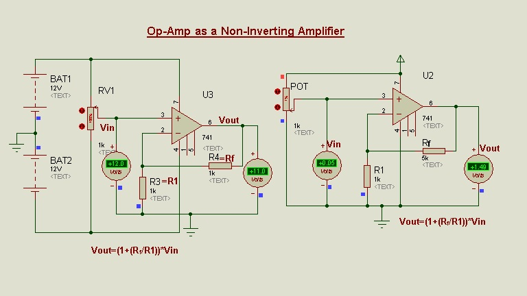 Schematic Circuit Diagram Op-Amp as Non-Inverting Amplifier proteus simulation