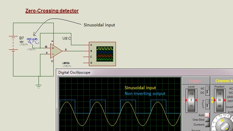 Schematic Circuit Diagram Op-Amp as Zero-Crossing detector proteus simulation