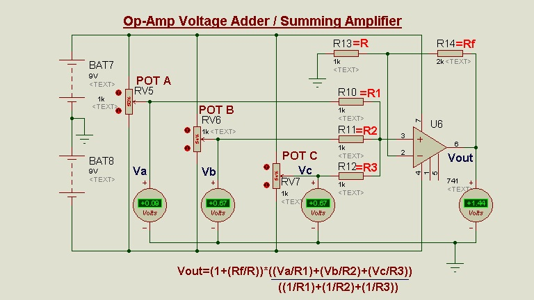 Schematic Circuit Diagram Op-Amp as a Summing Amplifier/Adder proteus simulation