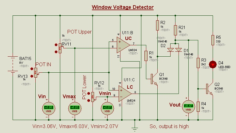 Schematic Circuit Diagram Op-Amp as a Window voltage detector proteus simulation 2