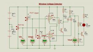 Schematic Circuit Diagram Op-Amp as a Window voltage detector proteus simulation 3