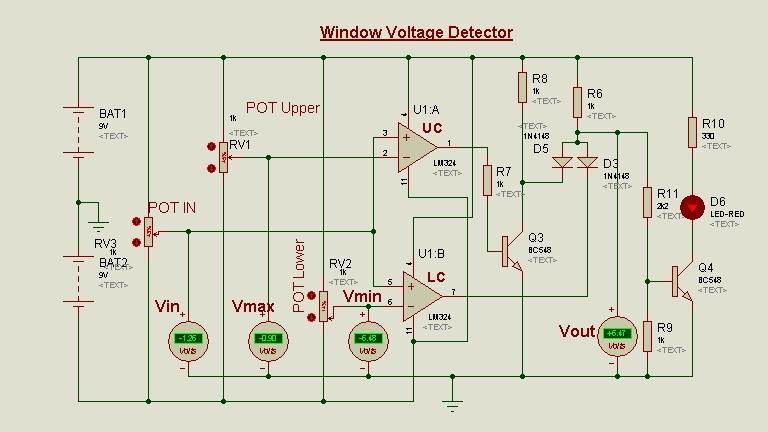 Schematic Circuit Diagram Op-Amp as a Window voltage detector proteus simulation 3