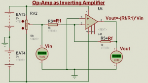 Schematic Circuit Diagram Op-Amp as an Inverting Amplifier proteus simulation
