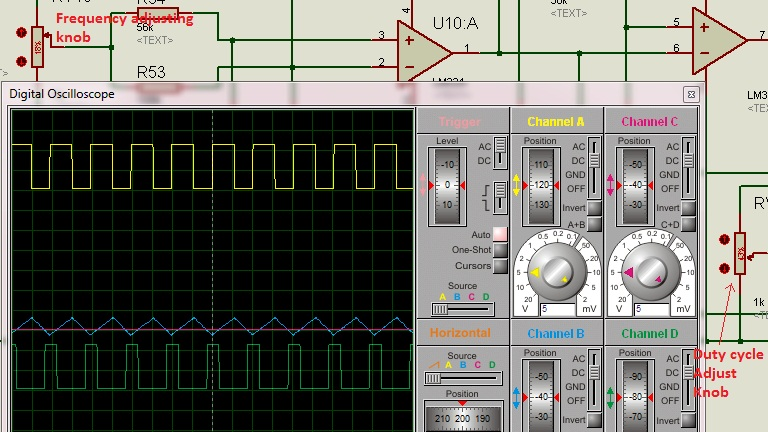 Schematic Circuit Diagram PWM-Pulse Width Modulation proteus simulation