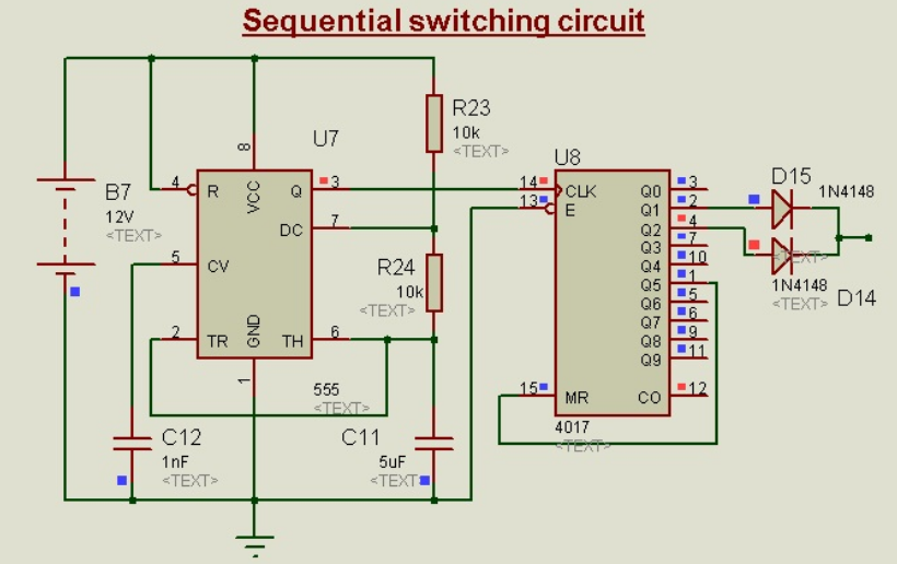 Schematic Circuit Diagram Sequential Switching Circuit Using 555-Timer proteus simulation