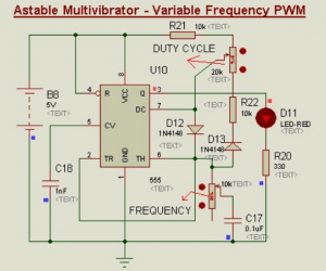 Schematic Circuit Diagram Variable frequency PWM Using 555-Timer proteus simulation