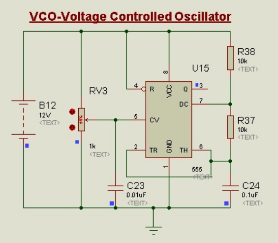 Schematic Circuit Diagram Voltage Controlled Oscillator (VCO) proteus simulation
