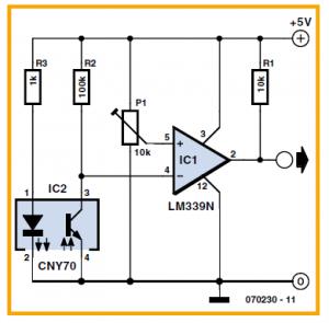 Sensor for Line Following Robots Schematic Circuit Diagram