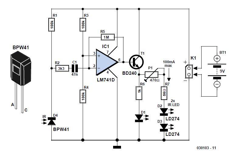 Simple Infrared Control Extender Schematic Circuit Diagram