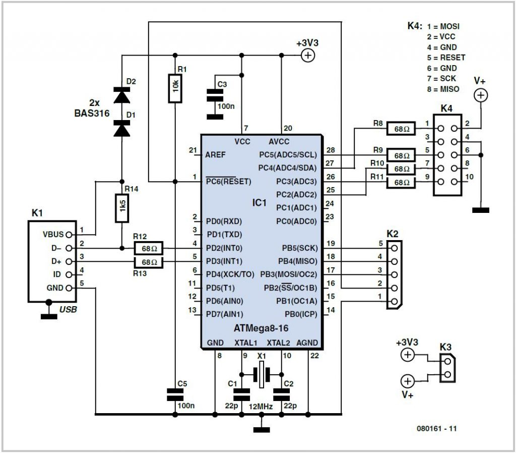 Simple USB AVR-ISP Compatible Programmer Schematic Circuit Diagram