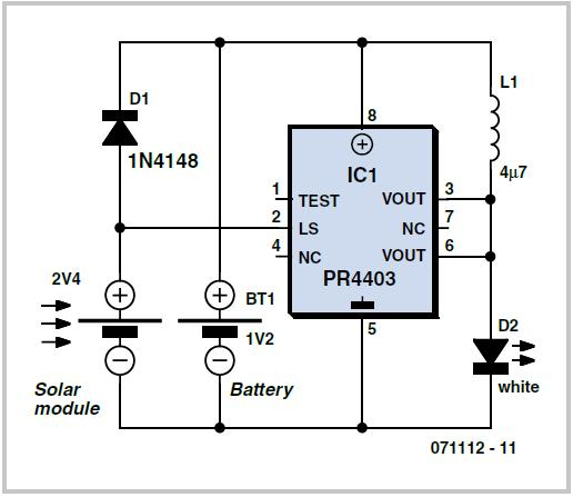 Solar Lamp using the PR4403 Schematic Circuit Diagram