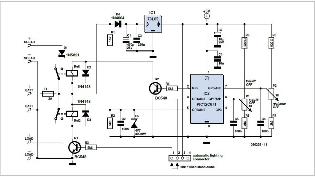 Solar-powered Battery Charger Schematic Circuit Diagram