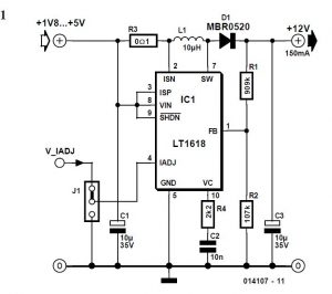 Step-up Switching Regulator with Integrated Current Limit Schematic Circuit Diagram 1