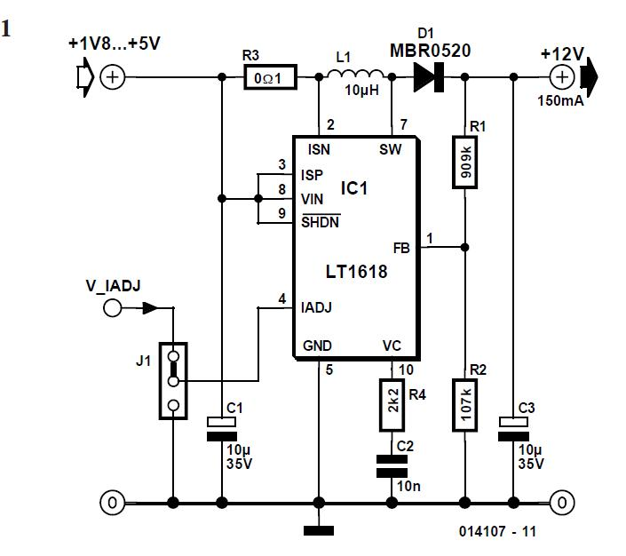 Step-up Switching Regulator with Integrated Current Limit Schematic Circuit Diagram