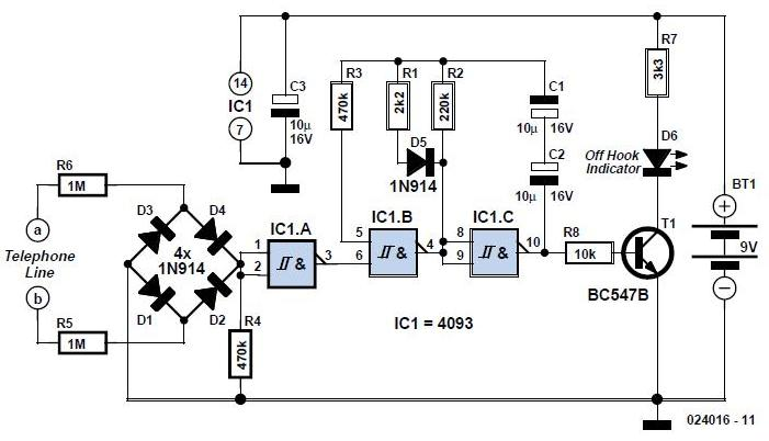 Telephone Line Indicator Schematic Circuit Diagram