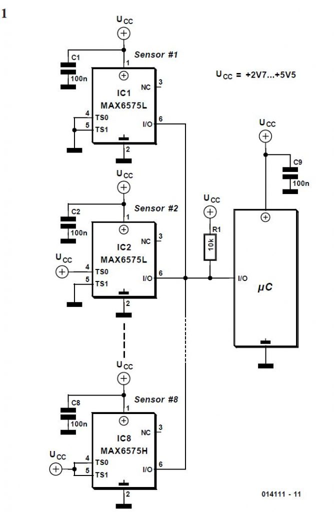Temperature Sensor with Single-wire Digital Interface Schematic Circuit Diagram