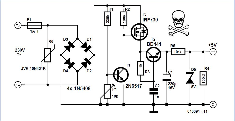Transformerless 5-volt Power Supply Schematic Circuit Diagram