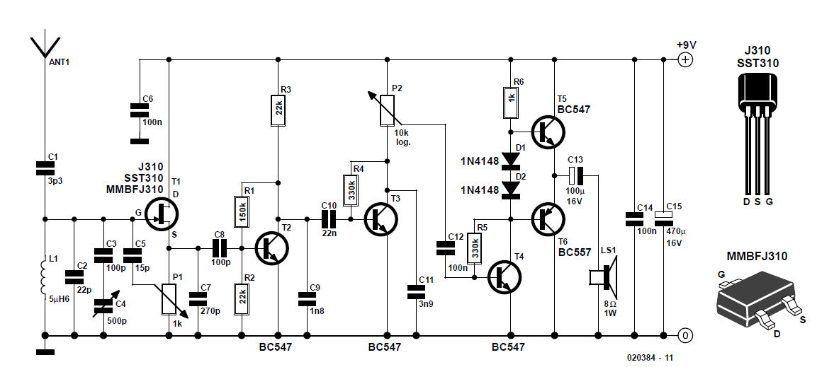 Tuned Radio Frequency  Trf  Receiver Schematic Circuit Diagram
