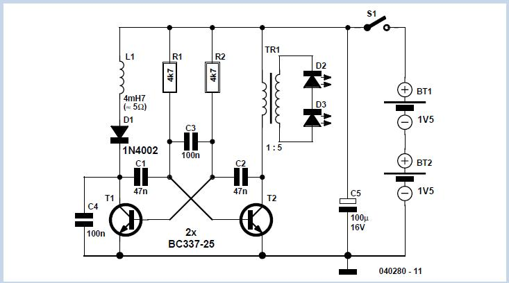 Two-Cell LED Torch Schematic Circuit Diagram