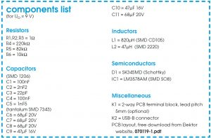 USB Converter Schematic Circuit Diagram Components list