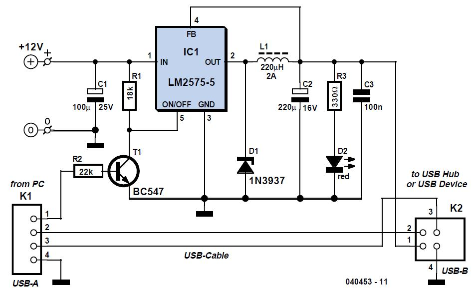 USB Power Booster Schematic Circuit Diagram
