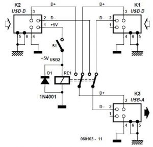 USB Switch for Printers Schematic Circuit Diagram
