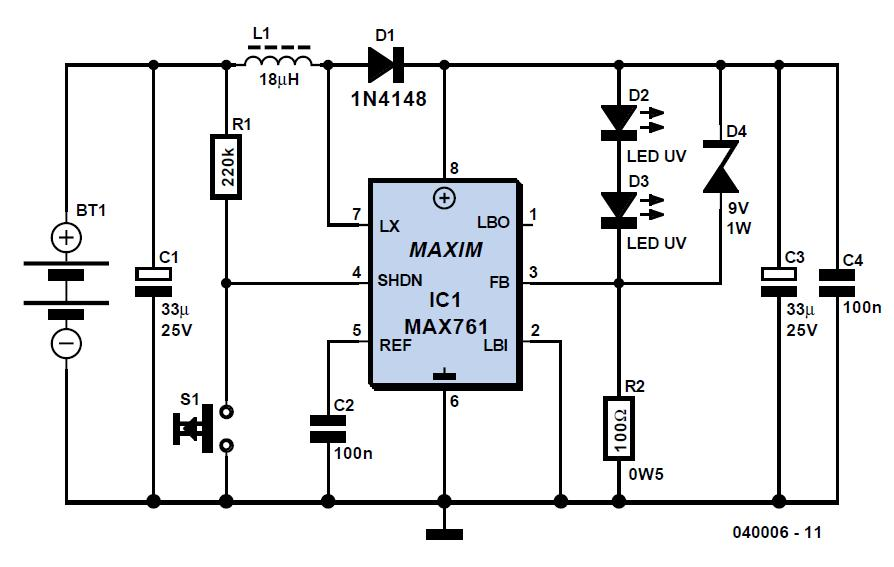 UV Torch Light Schematic Circuit Diagram