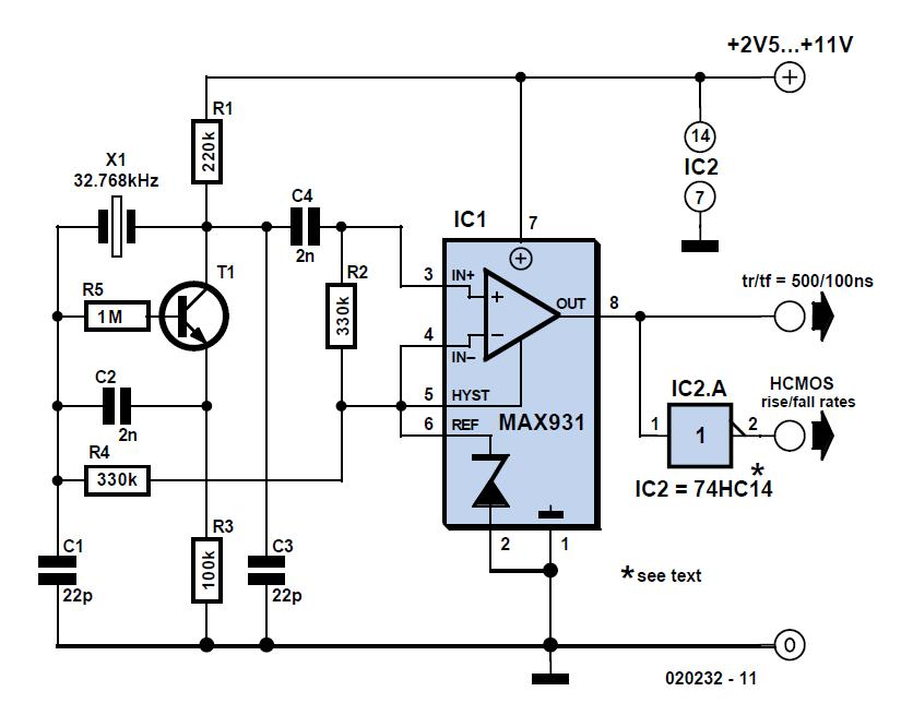 Very Low Power 32-kHz Oscillator Schematic Circuit Diagram
