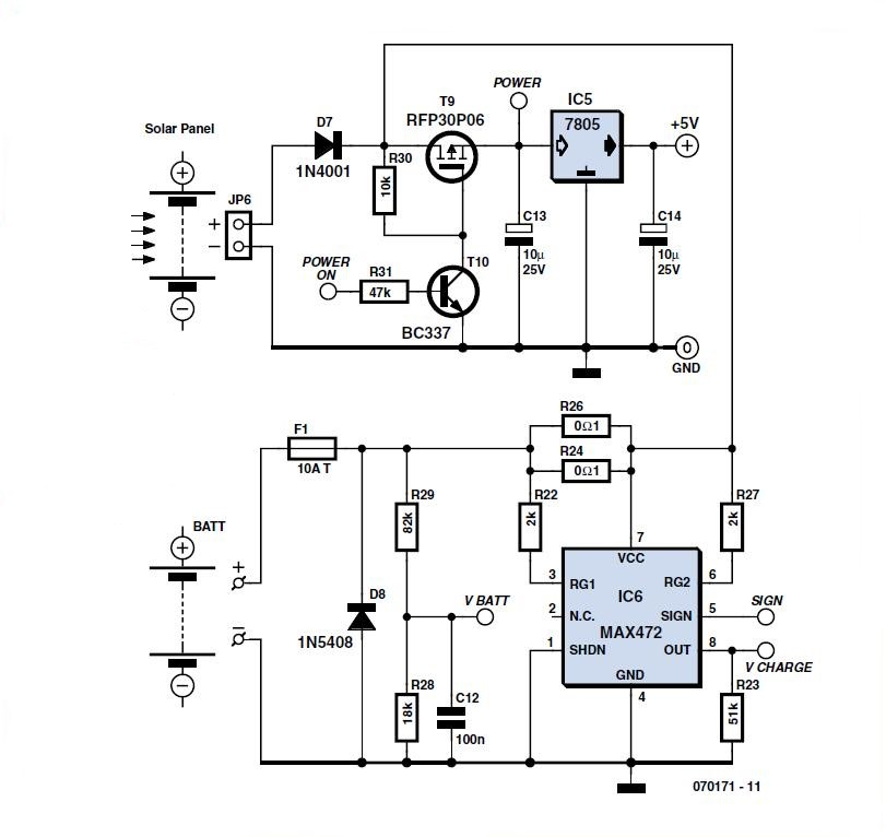 zBot: Solar/Battery Power Supply Schematic Circuit Diagram