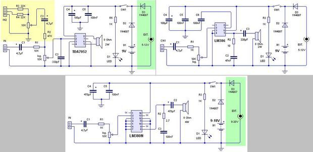 Photo of 1W 2.5W AMPLIFIER CIRCUITS TDA7052 LM386 LM380N SCHEMATIC CIRCUIT DIAGRAM