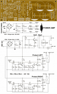 AMPLIFIER POWER SUPPLY AND PROTECTION CIRCUITS Schematic Circuit Diagram 4