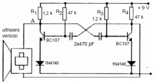 ASTABLE MULTIVIBRATOR SIMPLE ULTRASONIC TRANSMITTER SCHEMATIC CIRCUIT DIAGRAM