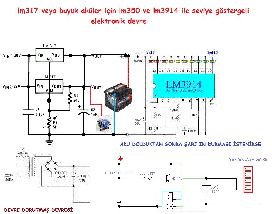 Led Indicator Battery Charging Circuit Lm317 Lm3914