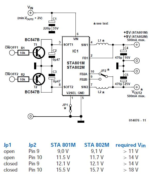 Dual Switching Regulator Schematic Circuit Diagram