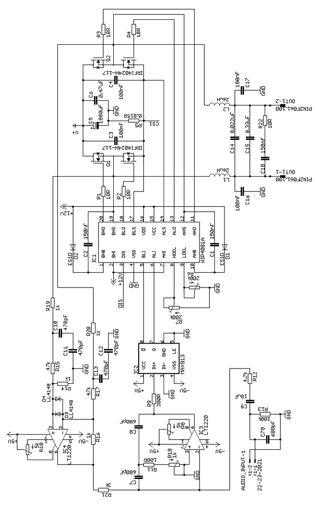 HIP4081A 2X100W CLASS D AMPLIFIER CIRCUIT (SMPS POWER ...
