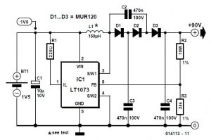 High Voltage Converter 90 V from 1.5 V Schematic Circuit Diagram